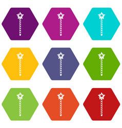 Magic wand icon set color hexahedron vector