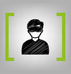 Man with sleeping mask sign black vector