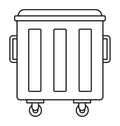 Metal trashcan icon outline style vector