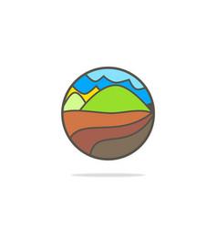 Mountain village nature logo vector