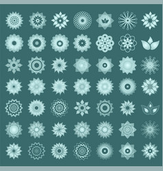 Pack of 49 transparent light turquoise abstract vector