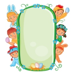 Poster with young children in easter costumes vector