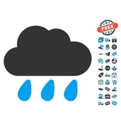 Rain Cloud Icon With Free Bonus vector image vector image