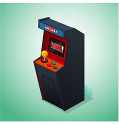 Retro arcade machine isolated on white video game vector