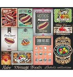Retro Vintage Foods Labels collection Small vector image vector image