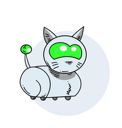 Robot cat hand drawn image vector