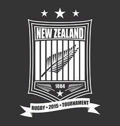 Rugby tournament emblem in the New Zealand sport vector image vector image