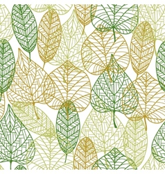 Seamless pattern of outline autumnal leaves vector