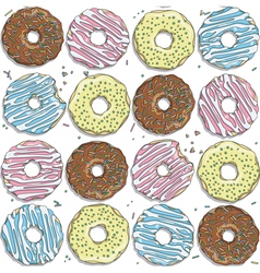 Seamless pattern with color donuts vector