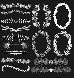 Set of black and white decorations vector