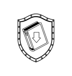 Silhouette shield with closed book and arrow vector