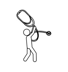 Silhouette worker holding up stethoscope medical vector
