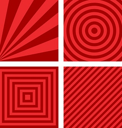 Simple red striped pattern background set vector