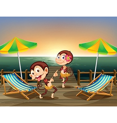 Two monkeys dancing at the wooden bridge vector image vector image