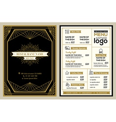 Vintage restaurant or cafe menu cover design vector