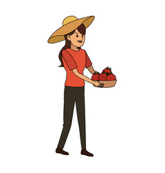 Woman holding fruits icon image vector