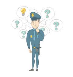 Young caucasian policeman having an idea vector