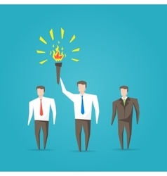 Businessman with burning torch vector image