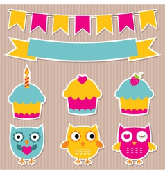 Birthday party stickers set vector