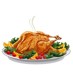 Roasted turkey on plate vector