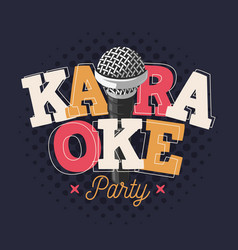 Karaoke label sign design with microphone vector
