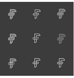 Letter f set signs monogram minimalism vector