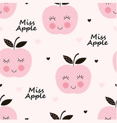 seamless pattern with abstract smiling apples vector image