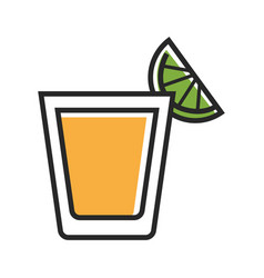 Shot served with lime vector