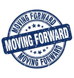 Moving forward blue grunge stamp vector