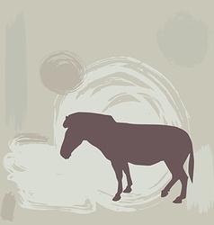 Zebra silhouette on grunge background vector image