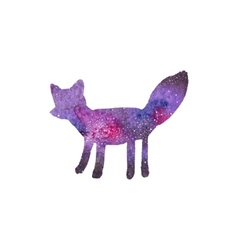 Cosmic fox watercolor galaxy fox on the white vector