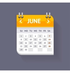 Calendar june flat design vector