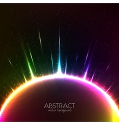 Rainbow shining light colorful cosmic sphere vector