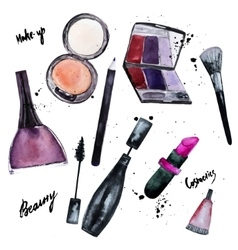 watercolor set of Glamorous make up set of vector image
