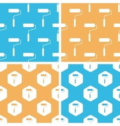 Paint roller pattern set colored vector
