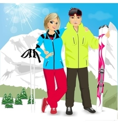 Happy couple skiers vector