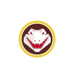 Alligator head circle retro vector