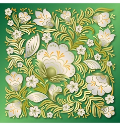 Abstract white floral ornament on a green vector