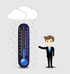 Hot thermometer on a gray background vector