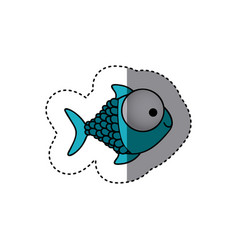 blue happy fish scalescartoon icon vector image vector image