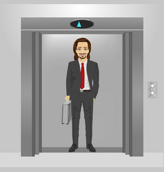 Businessman with briefcase standing in an elevator vector