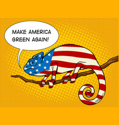 chameleon colored in american flag pop art vector image