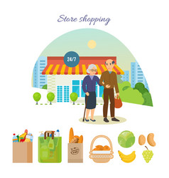 Couple after shopping at the mall on city street vector