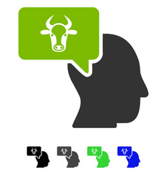 Cow thinking person flat icon vector