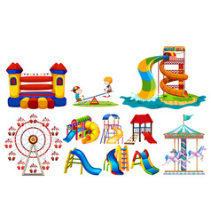 Different types of play stations at playground vector