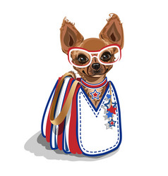 fashionable bag with a small dog vector image vector image