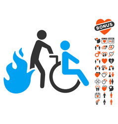 Fire patient evacuation icon with dating bonus vector