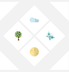 Flat icon nature set of lunar tree overcast and vector