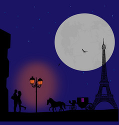 lovers in paris vector image vector image