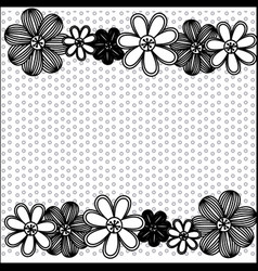 monochrome pattern dotted with row flowers vector image vector image